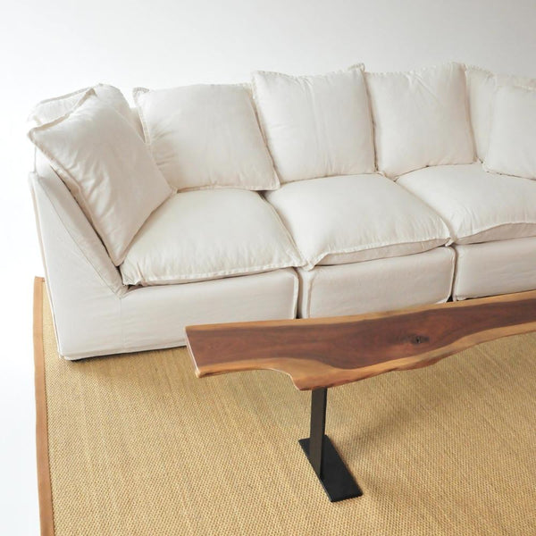 walnut bench with sofa