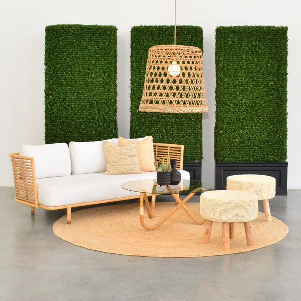 wave coffee table natural with cane sofa