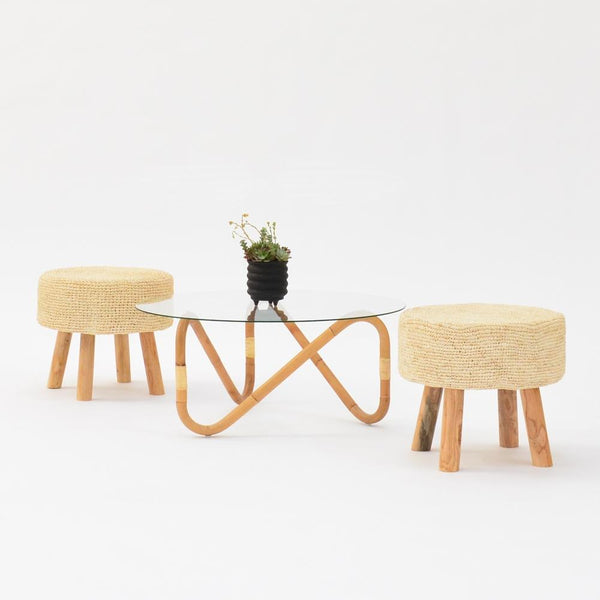 wave coffee table natural with stools