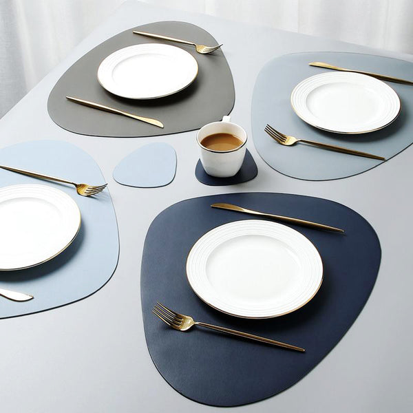 The Jetson Vegan Leather Placemat and Coaster Collection