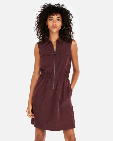 Test Zip Front Elastic Waist Shirt Dress