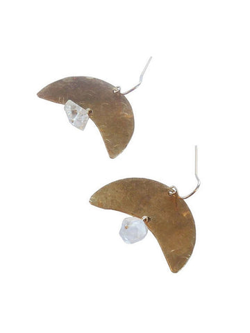 Crescent Textured Herkimer Diamond Earrings