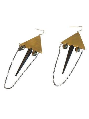 Black Spike Dangle Earrings