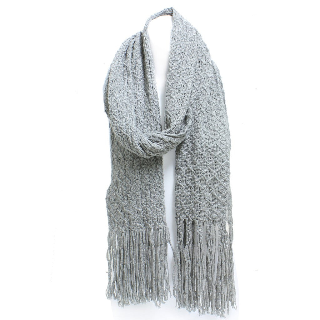 Gray Winter Honeycomb Rectangle Scarf with Fringe