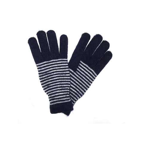 Navy Unisex Striped Gloves Angora and Wool Blend