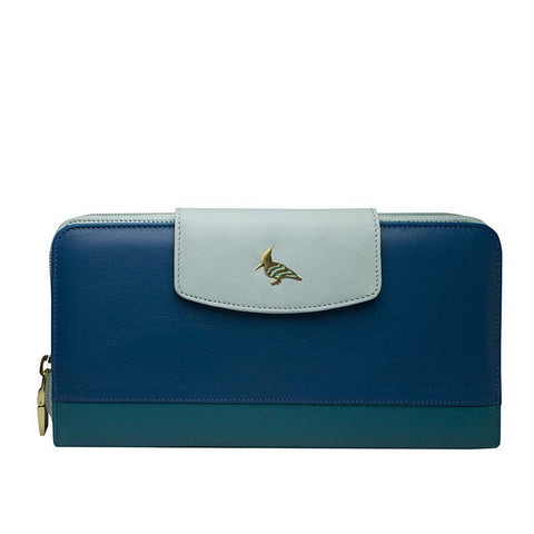 Blue Leather Travel Wallet & Passport Cover - Roadrunner