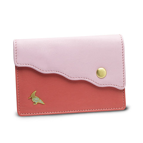 Pink Leather Business Card Holder Wallet - Swan