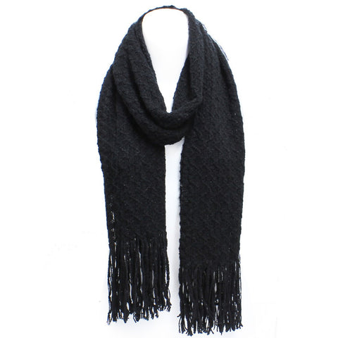 Black Winter Honeycomb Rectangle Scarf with Fringe