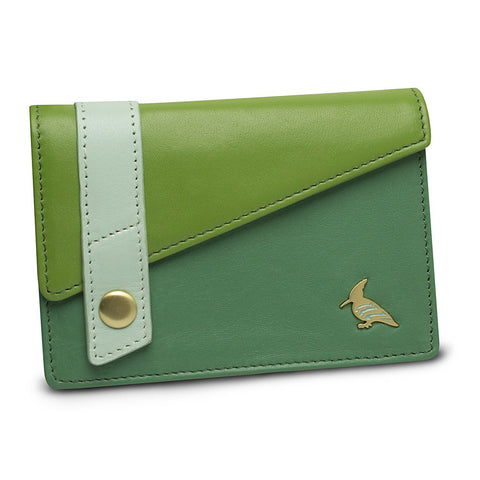 Green Leather Business Card Holder Wallet - Sparrow