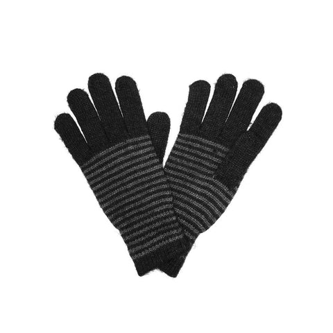 Black Unisex Striped Gloves Angora and Wool Blend
