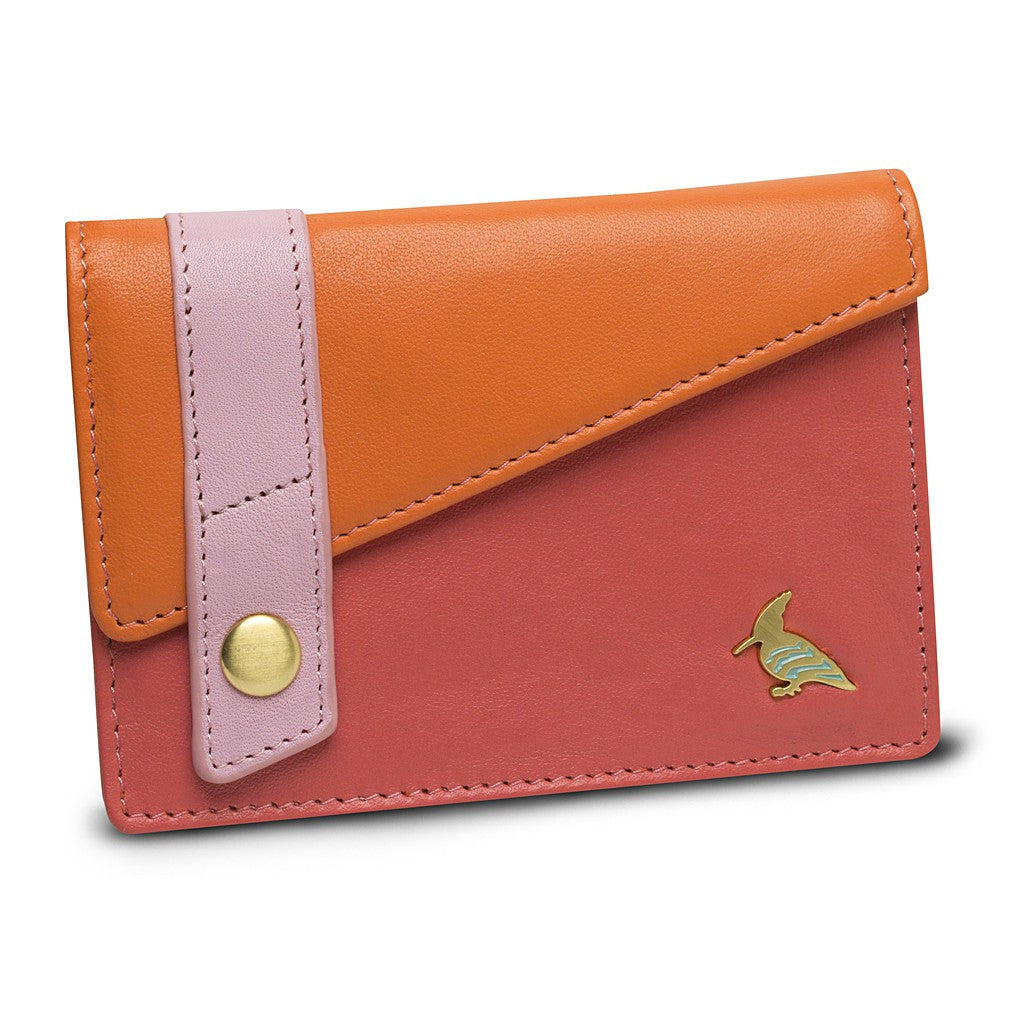 Pink Leather Business Card Holder Wallet - Sparrow