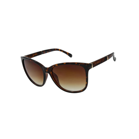 Womens Oversize Tortoise Sunglasses with Metal Accents and Textured Temples