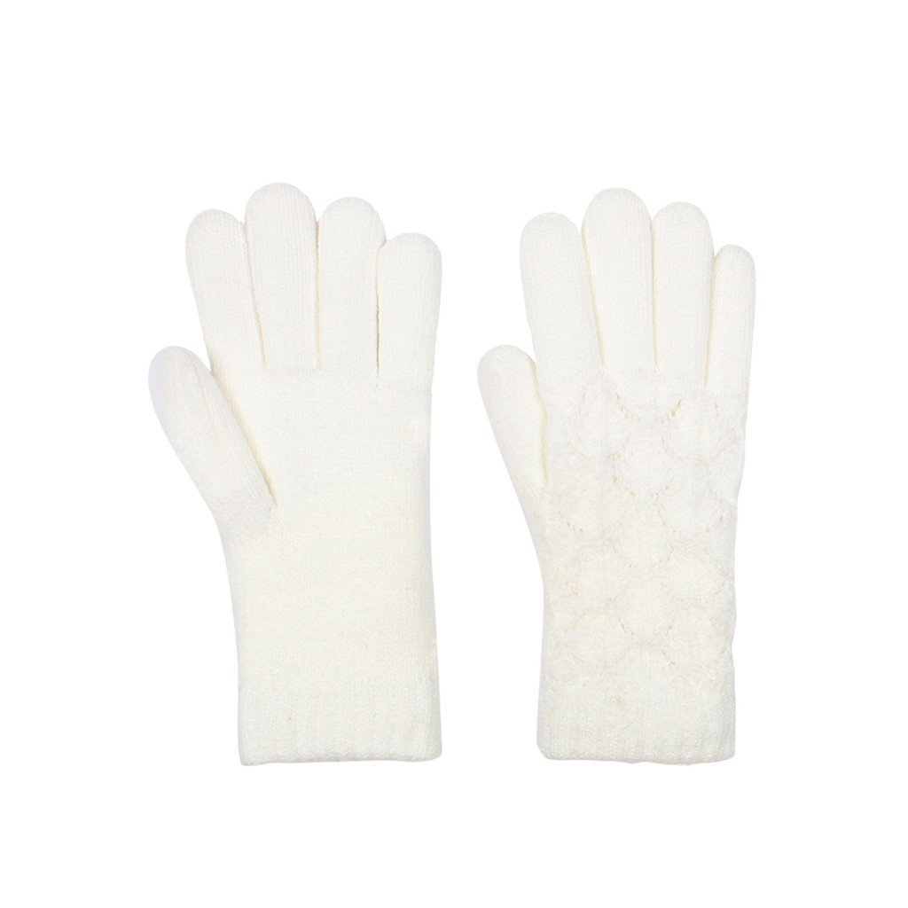 Lace Knit Fleece Lined Gloves In Ivory