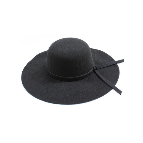 Womens Wide Brim Black Floppy Felt Hat with Matching Tie