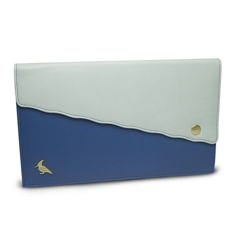 Blue Leather Document/Photo Holder - Swan
