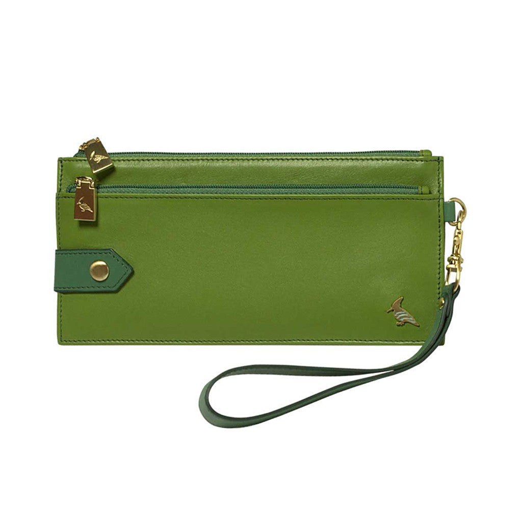 Green Leather Wristlet Wallet - Kiskadee
