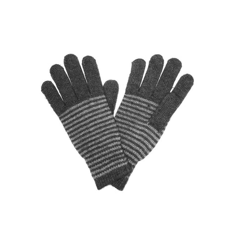 Dark Gray Unisex Striped Gloves Angora and Wool Blend