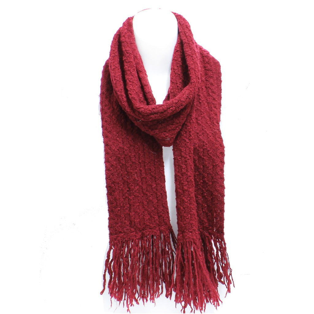Red Winter Honeycomb Rectangle Scarf with Fringe