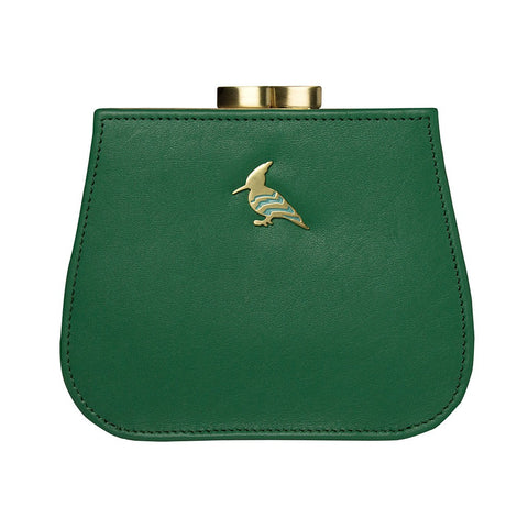 Green Leather Coin Purse Wallet - Canary