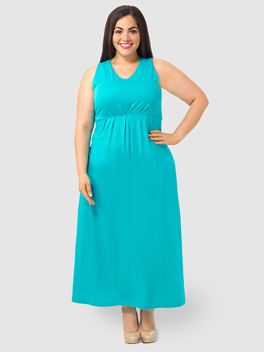 Pleat-Front Maxi Dress In Aqua