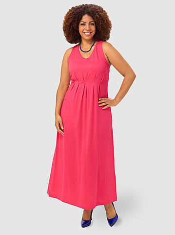 Pleat-Front Maxi Dress