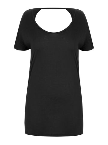New! - Scoop Back T-Shirt in Black