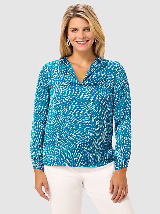 Jewel Neck Blouse In Pebble Print