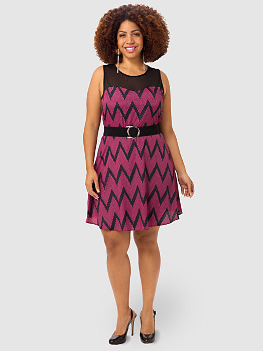 Printed Illusion A-Line Dress