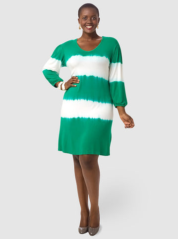 Cameron Tie Dye Dress In Emerald