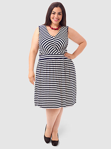 Sleeveless Striped A-Line Dress