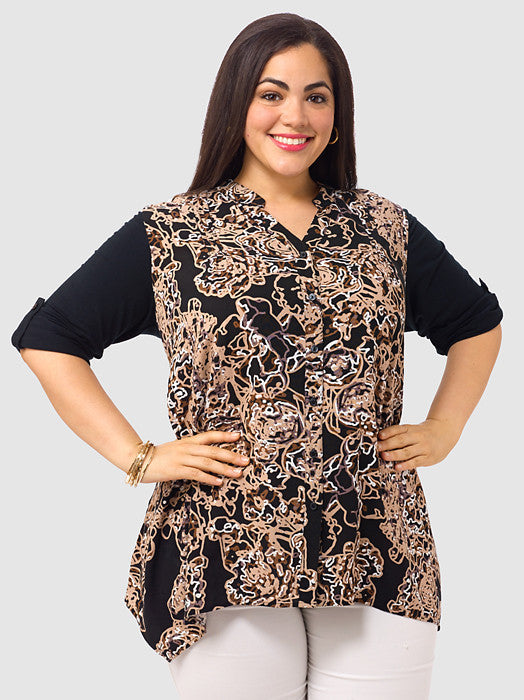 Squiggle Print Button-Front Tunic