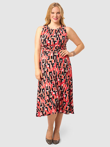 Ruched Waist Dress In Geo Print