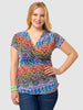 Faux Wrap Shirred Top In Abstract Print