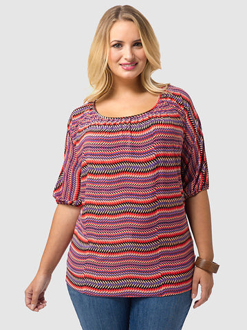 Scoop Neck Top In ZigZag Print