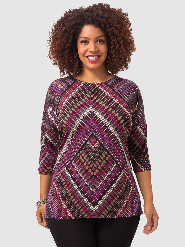 Elliptical Top In Chevron Magenta