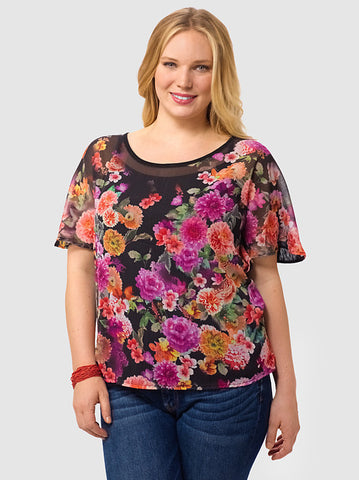 Short-Sleeve Floral Print Top