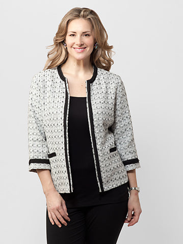 Contrast Trim Tweed Jacket