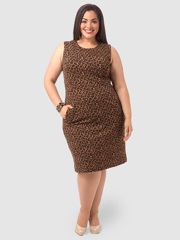 Ponte Dress In Leopard Print