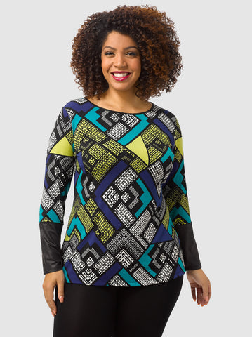 Geo Print Top With Faux Leather Trim