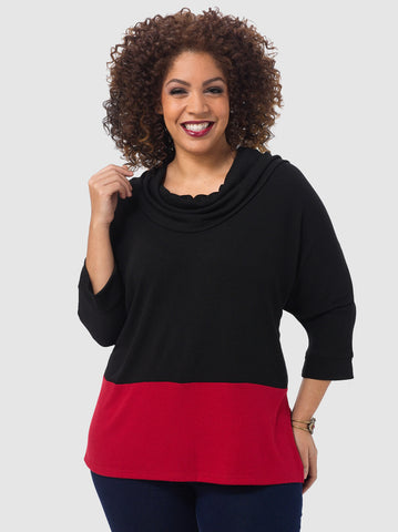 Contrast Cowl Neck Tunic