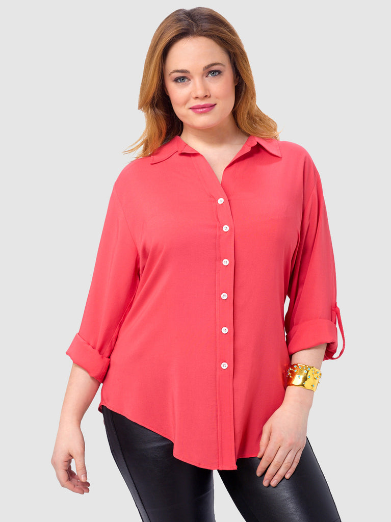Roll Up Sleeve Shirt In Coral