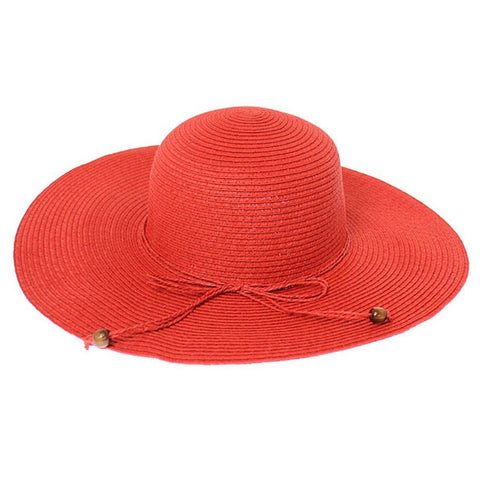 Red Floppy Summer Straw Hat with Beaded Tie