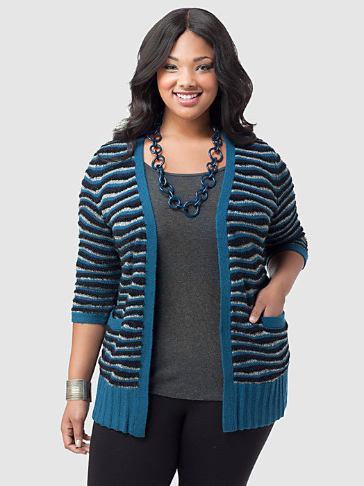 Sparkly Wave Open Front Cardigan