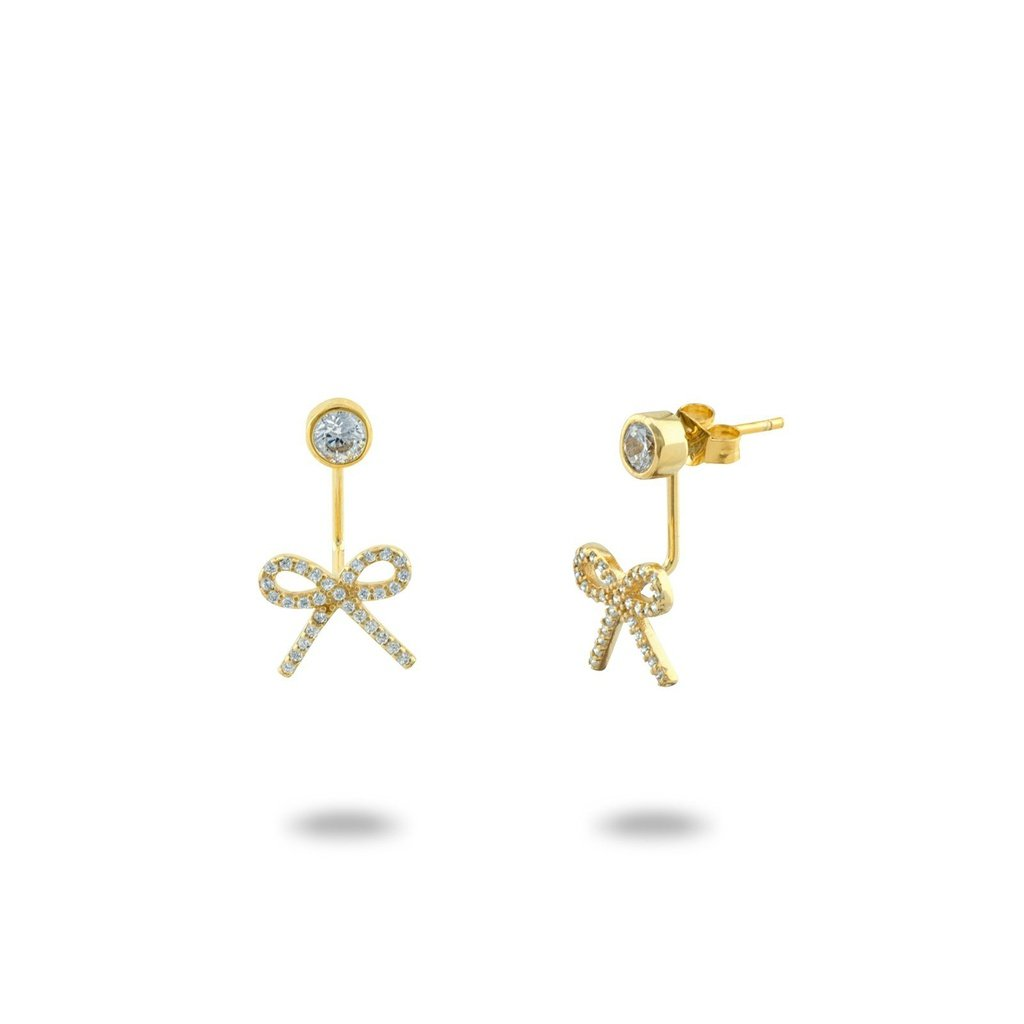 Gold Bow & Rock Cuff Earrings