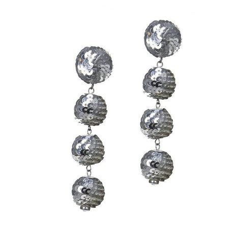 Four Tier Sequin Drop Earrings In Silver