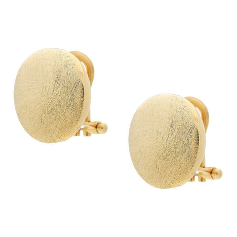 Gold Button Clip On Earrings