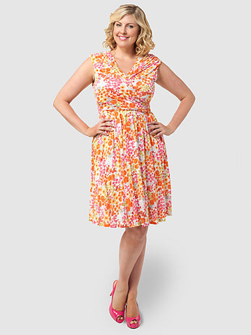 Faux-Wrap Dress in Floral Print