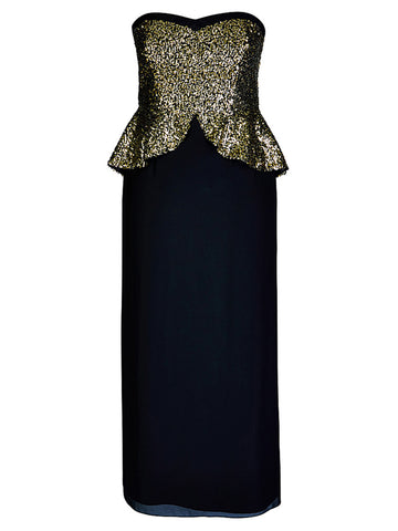 Sequin Peplum Evening Gown