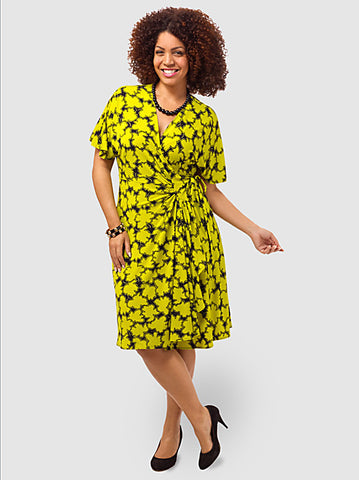 Jersey Wrap Dress In Leaf Print