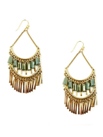 Chandelier Statement Earrings In Gold Tone